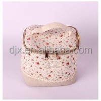 Double Layer Cosmetic Bag Black with Pink Dot Travel Organizer With Mirror Toiletry Cosmetic Makeup Bag
