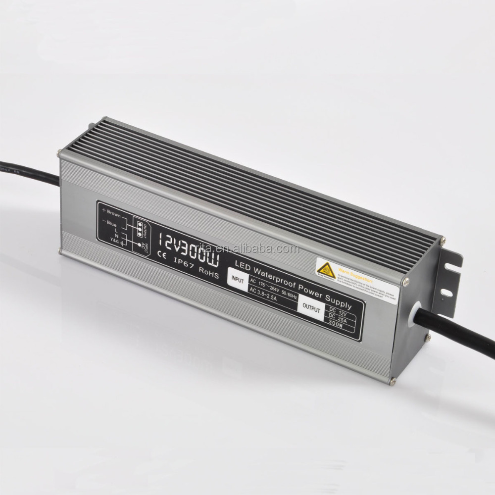 12V/300W waterproof switch mode Power <strong>Supply</strong>;IP67 rated;AC170-240V/AC90-130V input;DC12V output