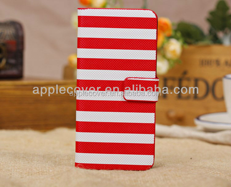 Hot selling wallet Tiny stripe leather wallet case for Iphone 5C