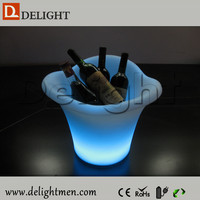 Alibaba hot sale glowing up plastic color changing led wine bottle table cooler for outdoor event