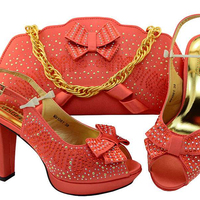 AB8502#1 Promotion latest design Nigerian shoes and bag set s to match women
