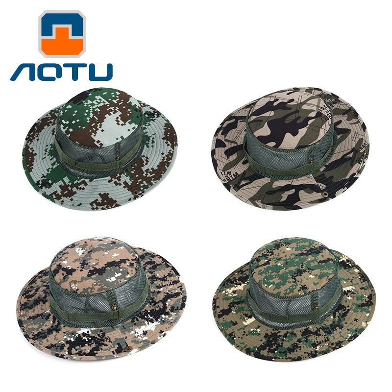 Concave and convex spring and summer men and women outdoor hats camouflage fisherman's cap travel breathable fishing nets