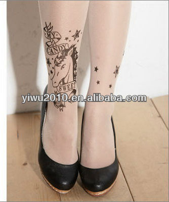 Horse Printed Ankle Tattoo Fashion Tights