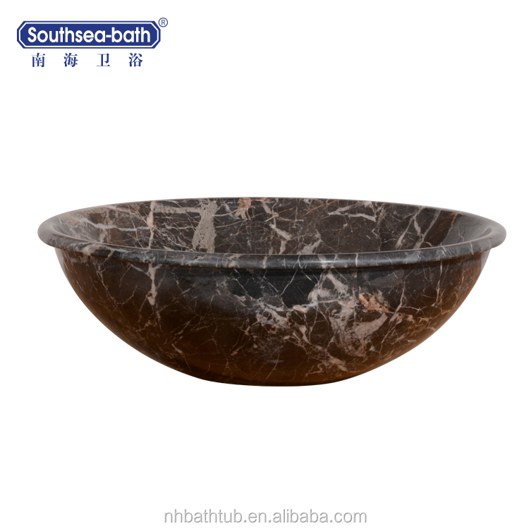 Customized design black and white natural marble stone wash basin