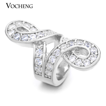 Vocheng Endless Charms Real Gold Plating CZ Stone Interchangeable Brass Material for 6mm Lambskin Bracelet VC-068