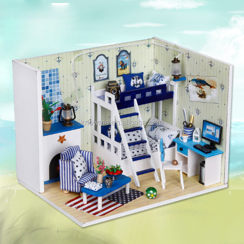 Blue Miniature DIY Wooden Dollhouse Mini Creative Room With Furniture, Accessories & Kits | Cute Elegant Dollhouse With Lights &