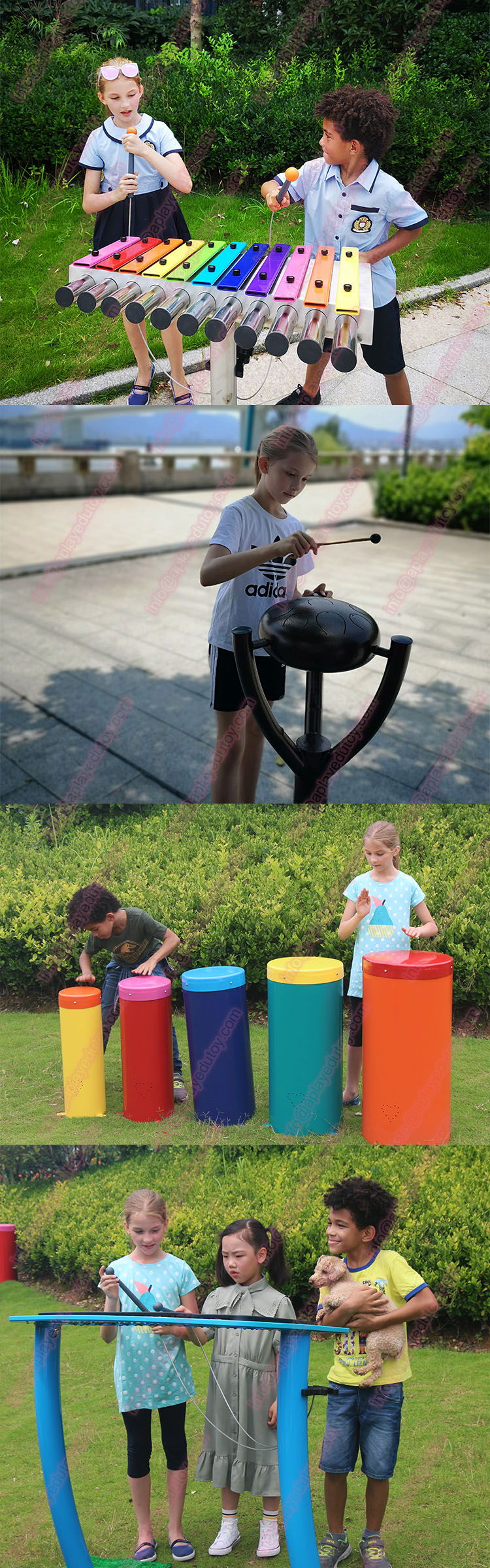 Children playground outdoor five color big steel tube pentatonic scale drum music play toy set.jpg