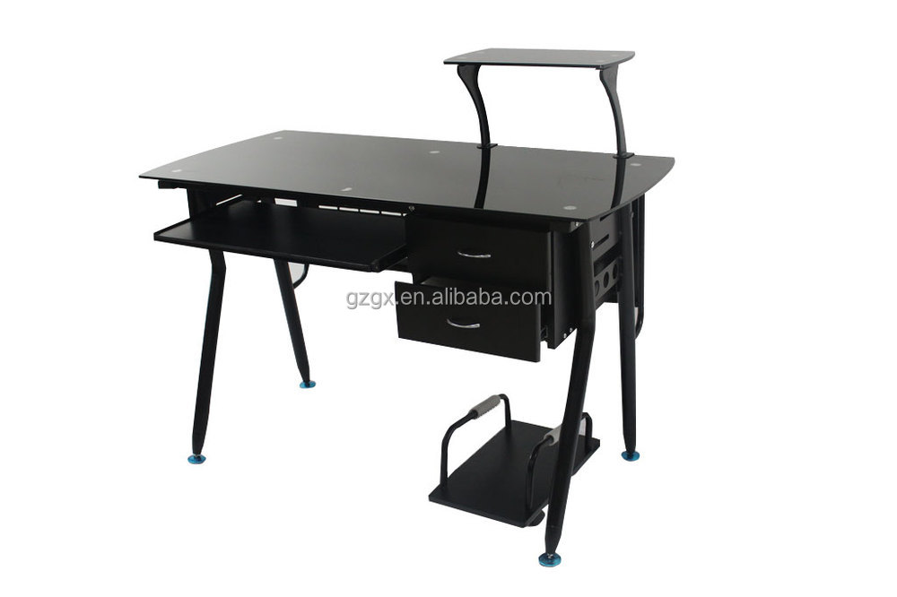 GX-117 Tempered glass office desk with filing cabinet