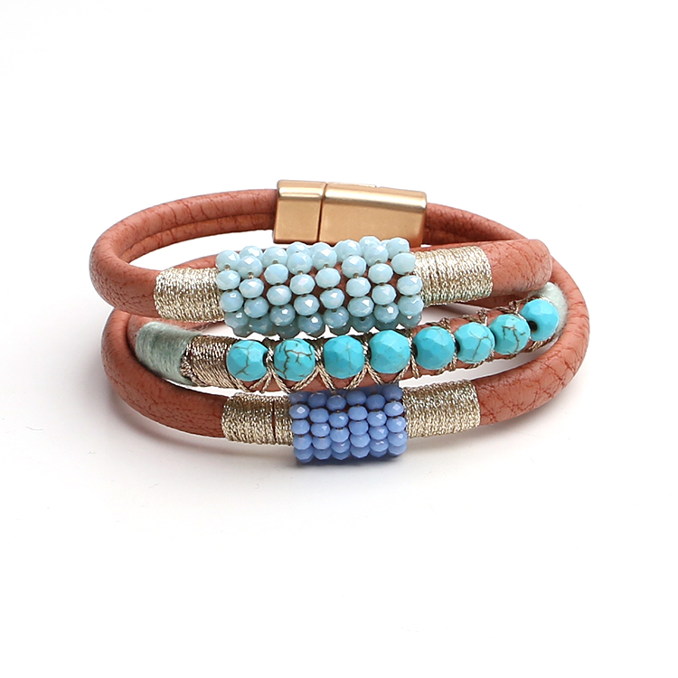 wholesale fashion jewelry layers pu leather magnetic turquoise bracelet