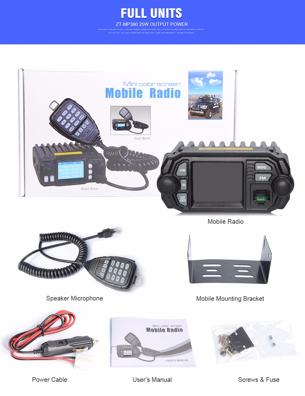 Zastone MP380 Dual band 25W car radio with speaker and monitor function talkie walkie