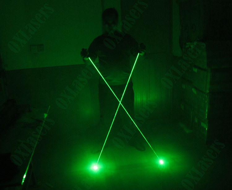oxlasers green laser sword dual head laser pointer focusable can burn matches for DJ laser and pub club using laser