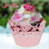 Laser cut pink seashell cupcake wrappers cake decoration