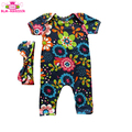 Floral Wholesale Baby Girl Clothes Romper Soft Cotton Toddler One Piece Jumpsuit Short Sleeve Long Leg Baby Romper