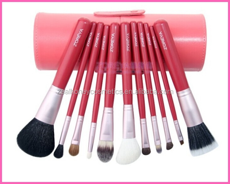 2015 new arrival 12 pcs professional makeup brush set with customlized color and pu bag