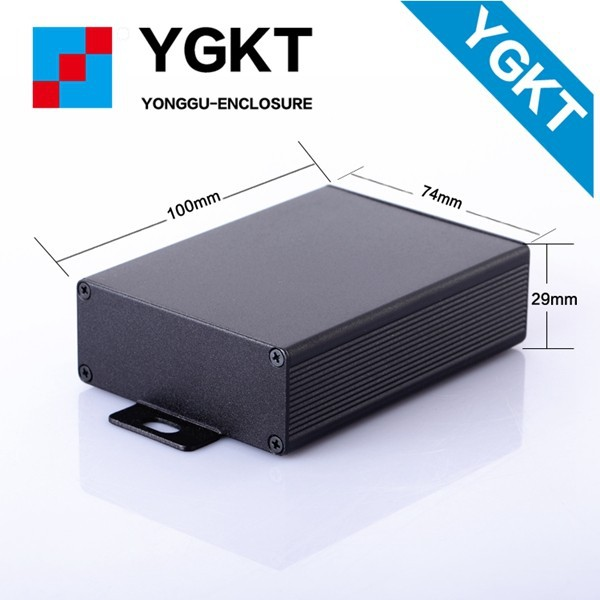 YGK-012 74*29*120mm 6063 black anodized aluminium extrusion housing enclosure for pcb Circuit board