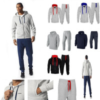 Custom plain latest design tracksuits bulk wholesale your own cotton fleece mens tracksuit