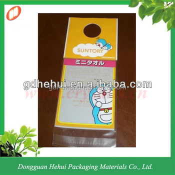 Custom self adhesive header plastic bag with hanging hole