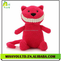 China Wholesale Stuffed Animal Customized Red Cute Cat Plush Toys With Smile