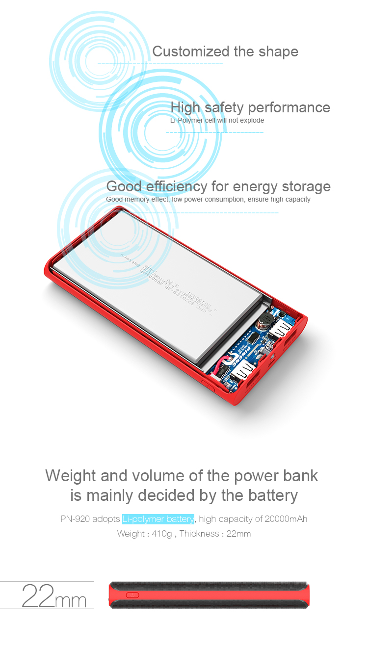 Easy Carry rohs waterproof Universal 20000mAh smartphone Power Bank Charger