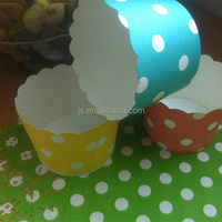 Hot-selling blue white dot circle cup paper baking cake cup, muffin cup