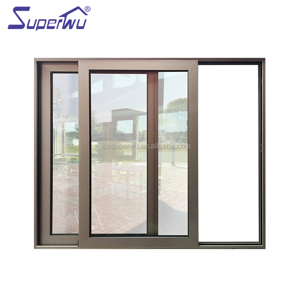 Superwu AS2047 high quality office aluminum frame sliding glass window