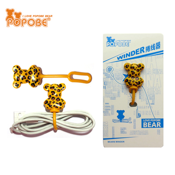 Fashion Design Leopard Print Eco Friendly Earphone Wire Cable PVC Earbud Cord Winder For Promotion