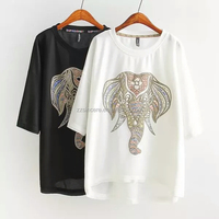 Wholesale Women Round Neck Print t Shirt Of Printing The Cute Elephant