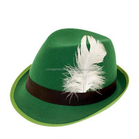 St. Patrick's green derby hat with feather
