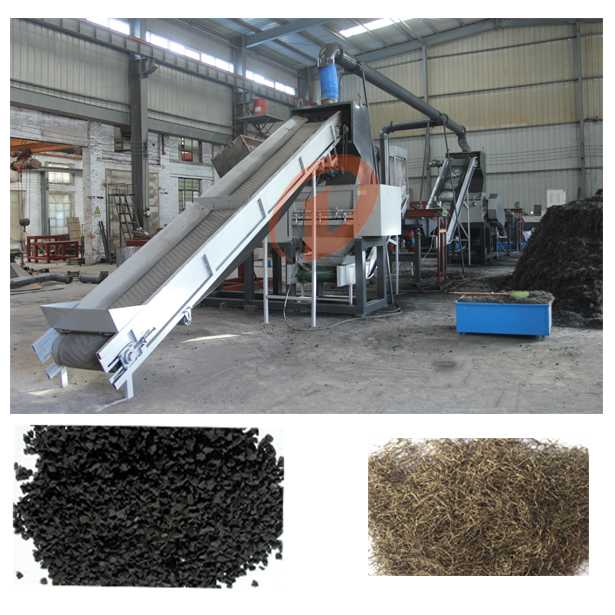 Automatic waste tire recycling line equipment prices