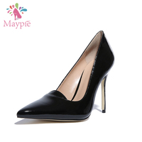 China Women's Stiletto Stylish Footwear Classic Black Leather Slip-on Pointed Court Shoes