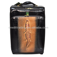Crocodile patent leather luggage