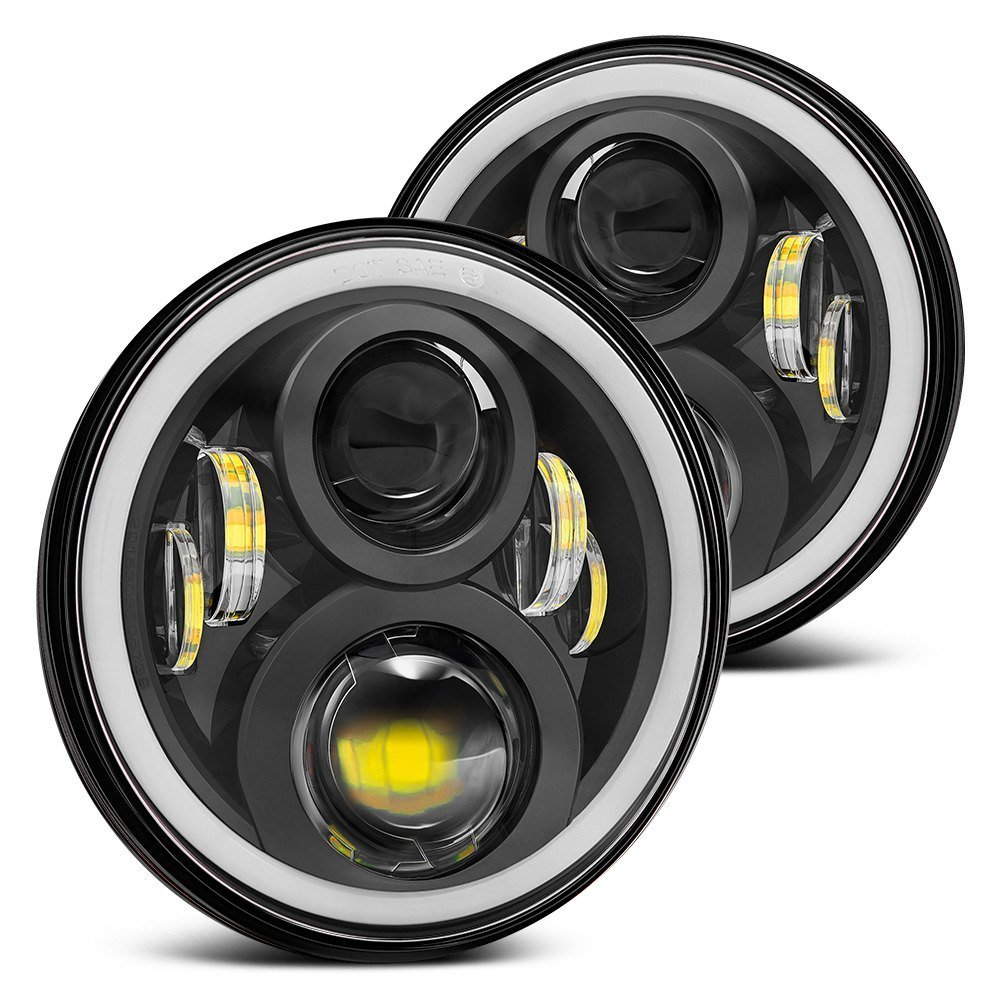 7inch 60w LED Headlight HIGH LOW BEAM RGB Halo for Jeeps Wrangler