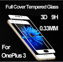 3D Curved edge Full cover Tempered Glass Screen Protector Printing 9H protective film for OnePlus 3