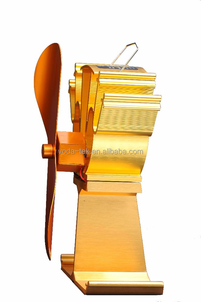 VODA luxury gold Eco-friendly heat powered wood burning stove fireplace fan