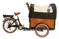 CE shopping Danish bakfiets family use steel frame cargo bike tricycle with cover
