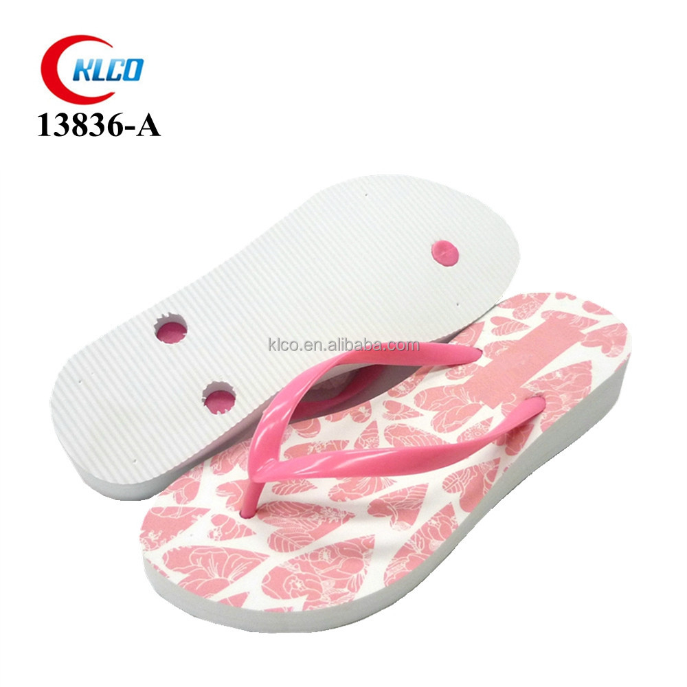 pink princess custom logo wedge flip flop wedding