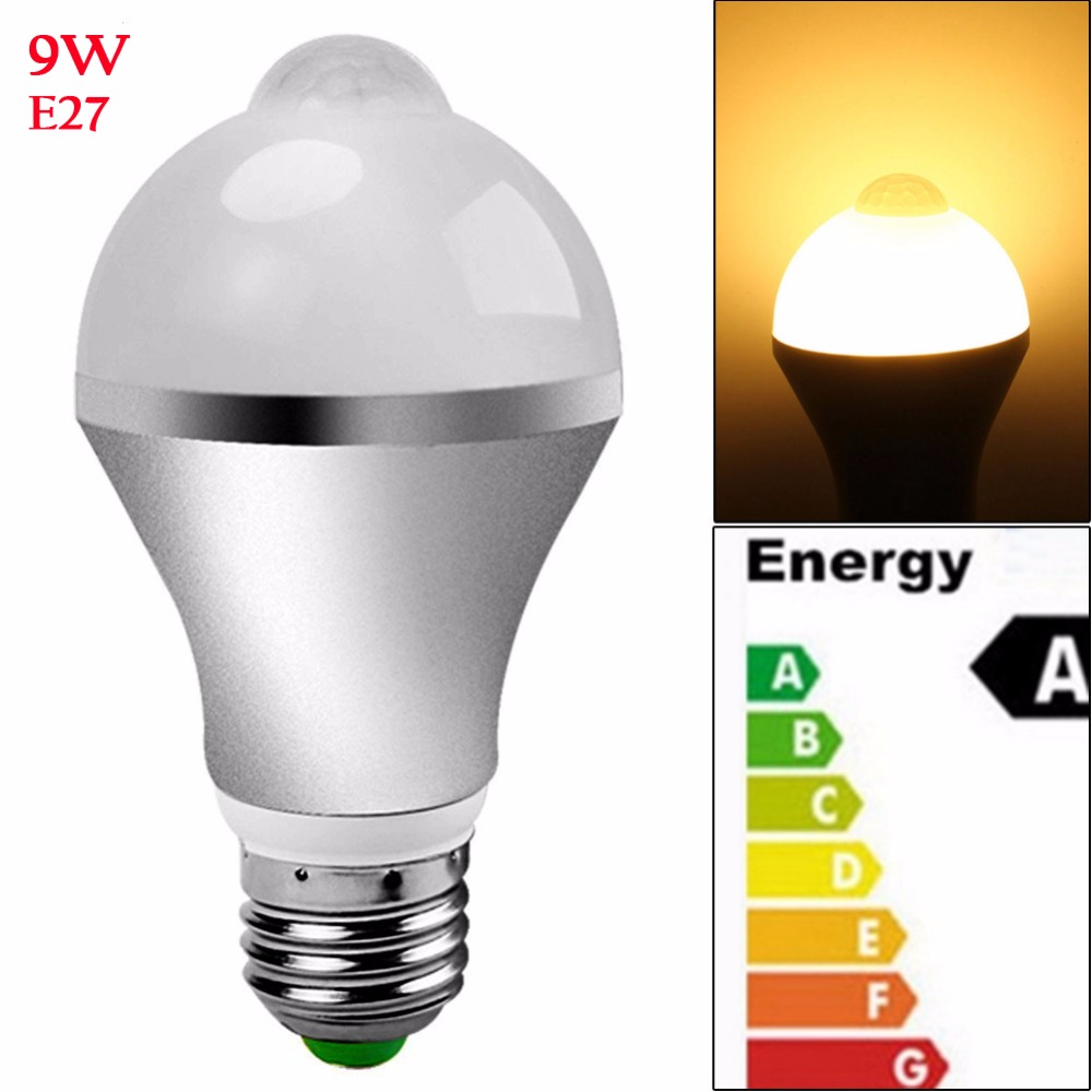 China manufacturer AC85-265V E27 LED Bulb 9W PIR Motion Sensor Light, E27 LED Light Bulb Warm White 3000K/450 lumen