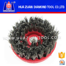 Diamond m14 round steel wire stone polishing brush