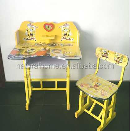 Height adjustable Wooden study table designs kids student Table and Chair