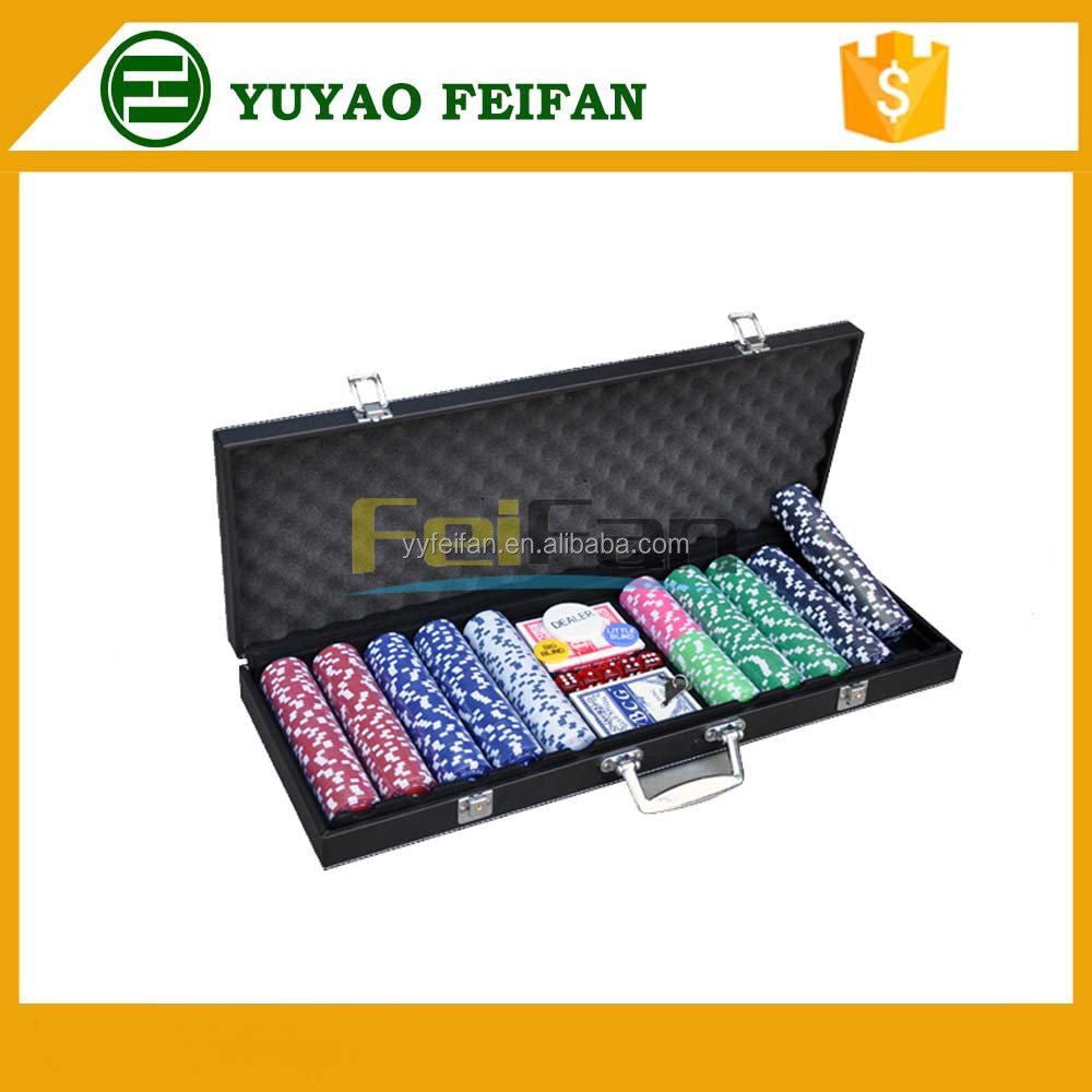 customized strip poker chips clay poker chip set 500pcs leather case