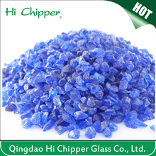 Cobalt blue colored terrazzo grinding glass chips for decoration