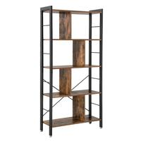 VASAGLE design portable modern furniture large tall bookcase,4 tiers industrial metal ladder book shelf wooden for living room