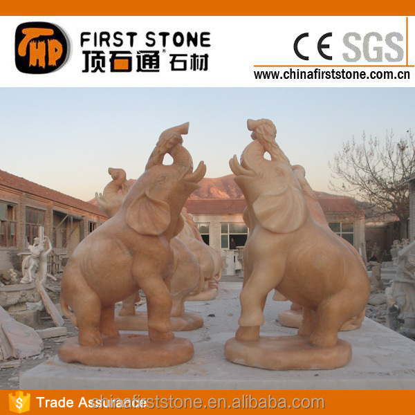 MAB607 Red Marble Elephant Sculpture