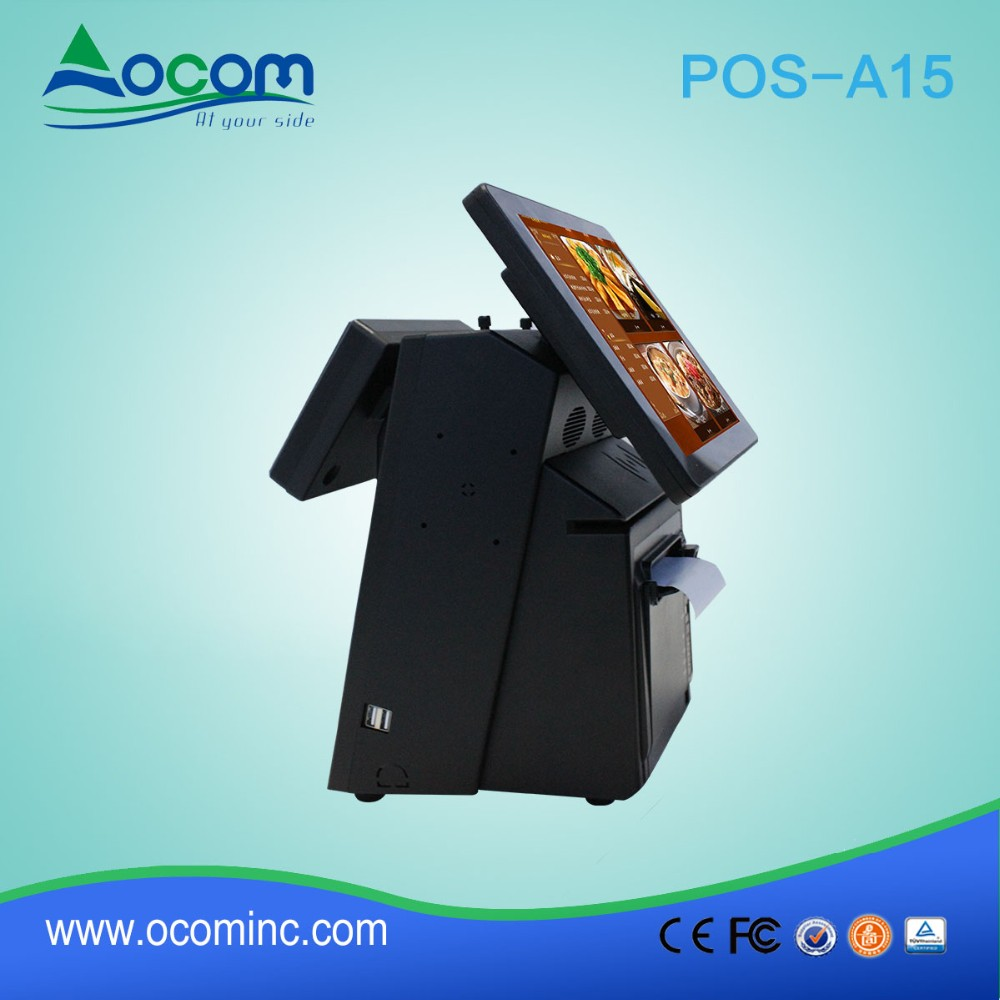 POS-A15 China cheap supermarket restaurant android touch dual screen all in one pos system with printer retail price