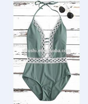 STOCK!Crochet Lace Trim With Pad Sexy Lady One Piece Swimsuit
