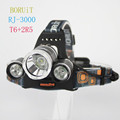 BORUIT RJ-3000 1xCREE XML T6+2xCREE R2 1600 Lumens 4-Mode USB Rechargeable LED Headlamp (2x18650)