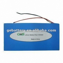 GEB Lifepo4 12V 24Ah Rechargeable Electric Vehicle Battery Pack/Lithium ion Battery Pack 12V 24Ah