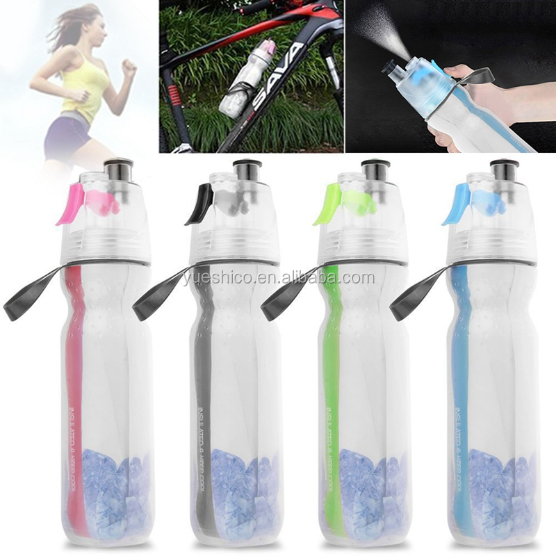 Double-deck Sports Drink Spray Water Bottle Cool Cold Insulation Anti-slip Keep Cold Mist Bottle