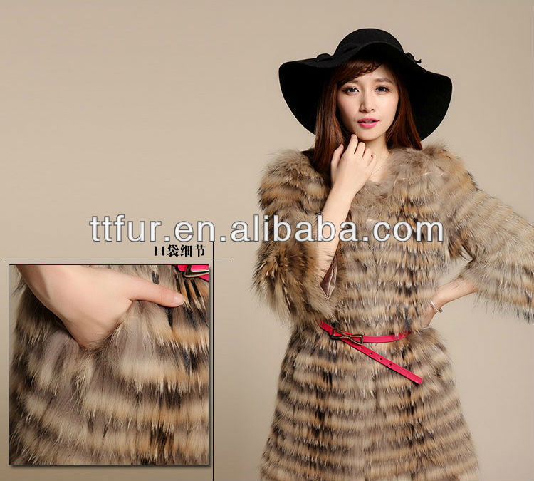 TT- 824-N Genuine raccoon fur coat/ lady's raccoon dog fur coat