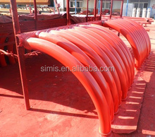China DN125mm*R500 or R1000mm*45De 90De concrete pump bend